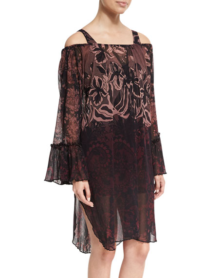 Fuzzi Floral Print Off-The-Shoulder Coverup Dress, Black In Prugna