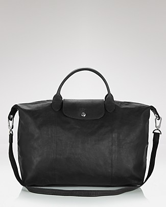 Longchamp Le Pliage Large Leather Satchel In Black