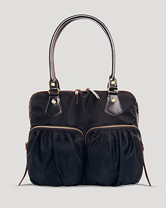 Mz Wallace 'jane' Bedford Nylon Handbag - Black In Black/gold