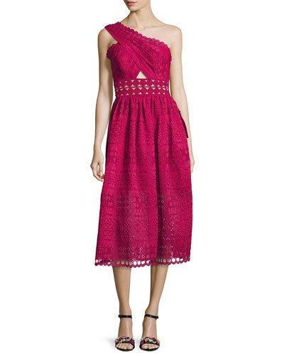 c9d000435eae Self-Portrait One-Shoulder Cutout Cotton-Blend Guipure Lace Midi Dress In  Red