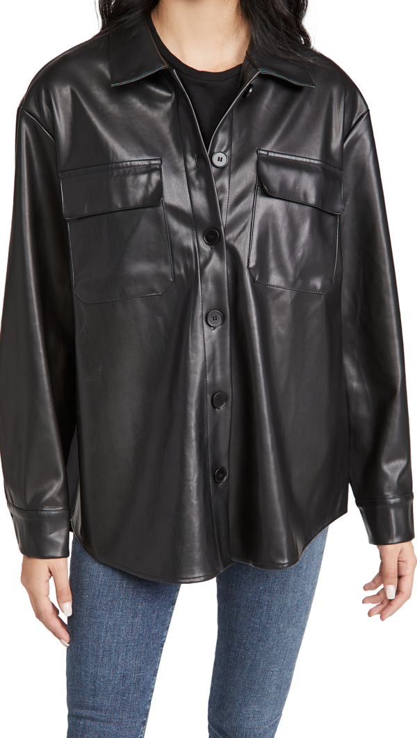 Re:named Re: Named Faux Leather Shacket In Black