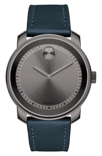 Movado Bold Leather Strap Watch, 42.5mm In Blue/ Gunmetal