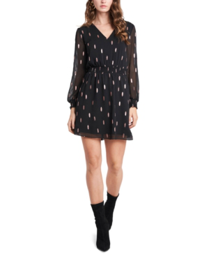 1.state Smocked Metallic-print Dress In Rich Black