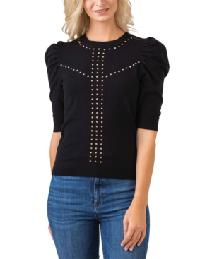 Belldini Black Label Women's Plus Size Embellished Puff Sleeve Pullover Sweater In Black/gold