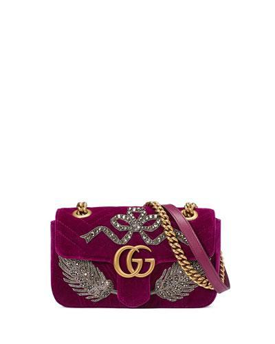 1bc0810ef3d Gucci Velvet Gg Marmont 2.0 Mini Shoulder Bag, Fuchsia In Red   ModeSens