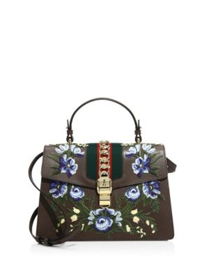 3b85fec0e6d Gucci Medium Sylvie Embroidered Top Handle Leather Shoulder Bag In Brown