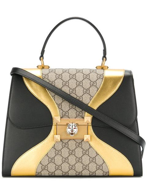 80cd7ab02 Gucci Osiride Small Gg Supreme Top-Handle Bag With Golden Wave Detail In  Black