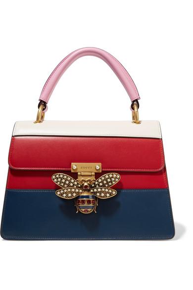 5bdddb6fe7ee Gucci Queen Margaret Top Handle Leather Satchel - Blue In Red | ModeSens