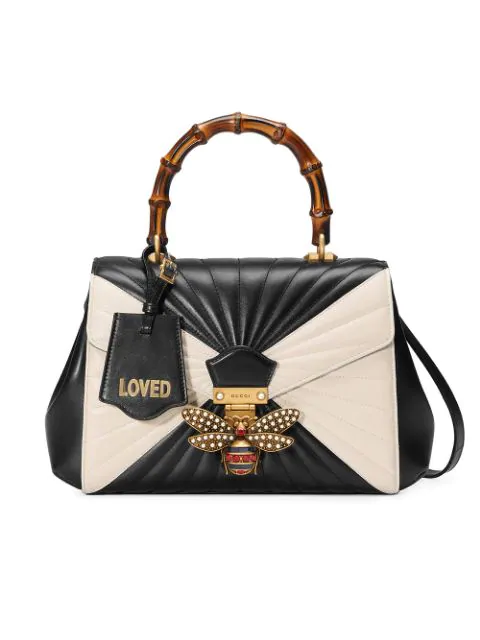 8d4807ecb7b5 Gucci Queen Margaret Linea Medium Bee Bamboo Top-Handle Bag, Black/Multi