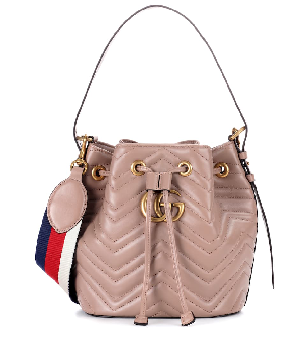 Gucci Gg Marmont Quilted Leather Bucket Bag In Pink