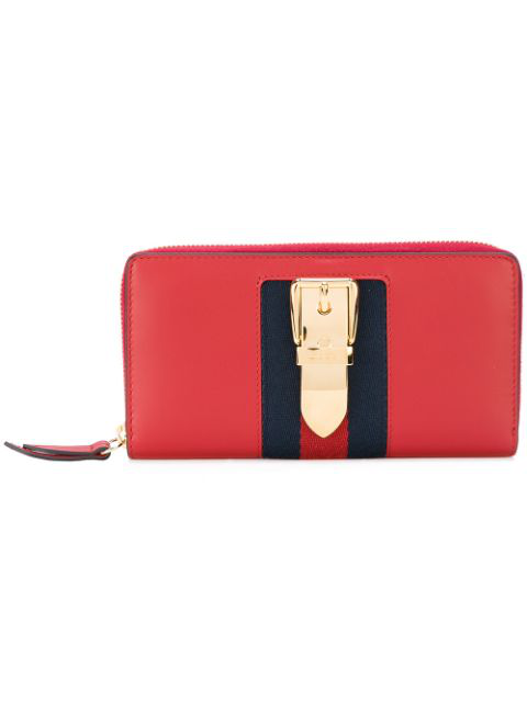 60816ceddbad Gucci Sylvia Leather Zip Around Wallet In Red | ModeSens