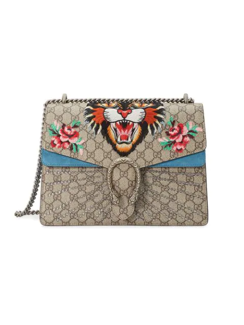 294bd5c98990 Gucci Dionysus Medium AppliquÉD Printed Coated-Canvas And Suede Shoulder  Bag In 9278 Ivory