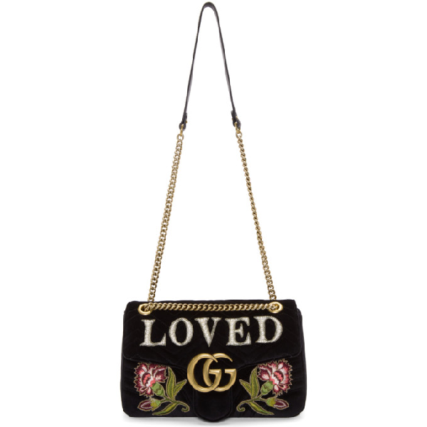 1d9c02af11ac Gucci Gg Marmont Medium Embroidered MatelassÉ Velvet Shoulder Bag In Black