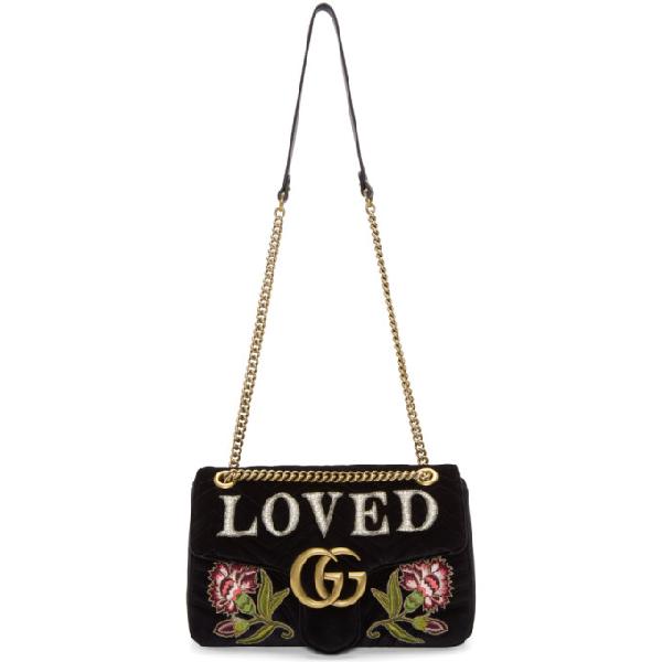 9b64d394 Gg Marmont Medium Embroidered Matelassé Velvet Shoulder Bag in Black