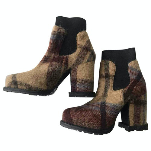 Pre-owned Sacai Multicolour Tweed Ankle Boots