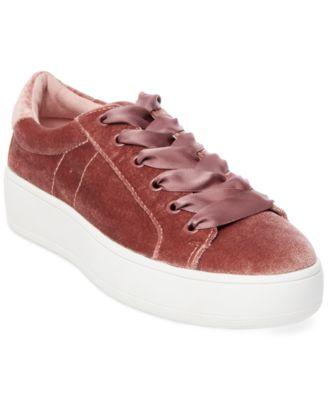 ceb7f9a71d33 Steve Madden Women s Bertie Velvet Lace-Up Sneakers In Blush Velvet ...