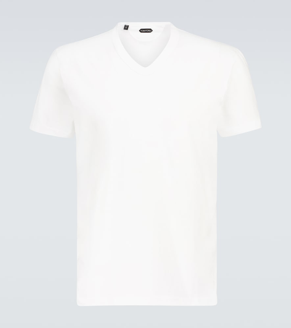 Tom Ford Marl Cotton Jersey V Neck T-shirt In White