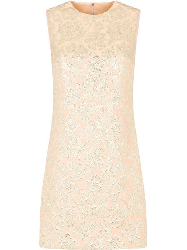Dolce & Gabbana Floral Jacquard Cocktail Dress In Pink