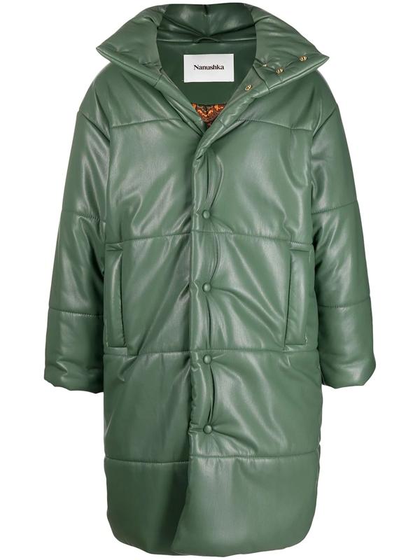 Nanushka Padded Hooded Coat In Green