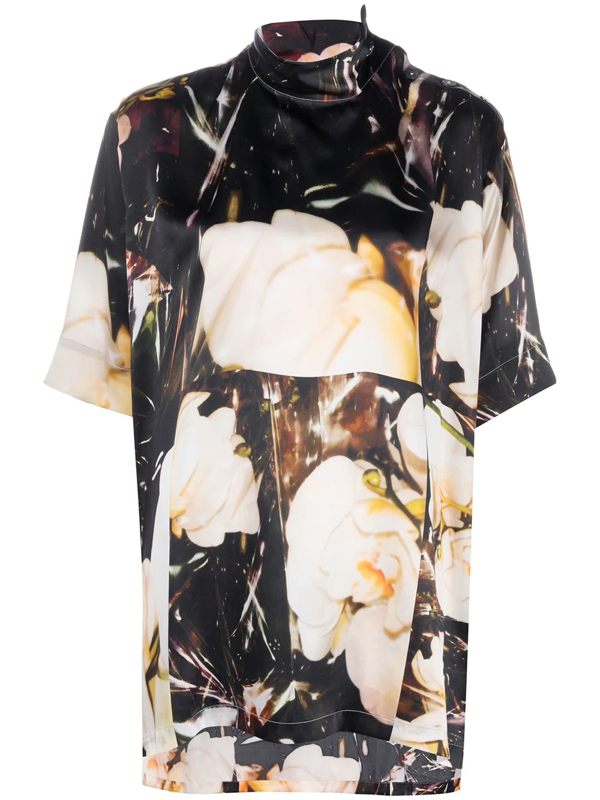 Paul Smith Floral Funnel-neck Silk Top In Black