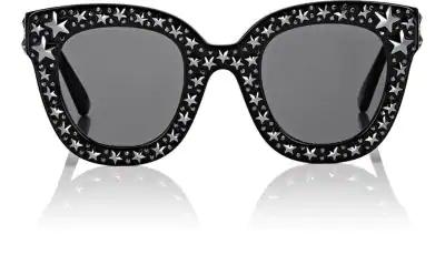 Gucci Gg0116S Acetate Cat Eye Women's Sunglasses W/Stars Feature Star Worthy Retro In Silver