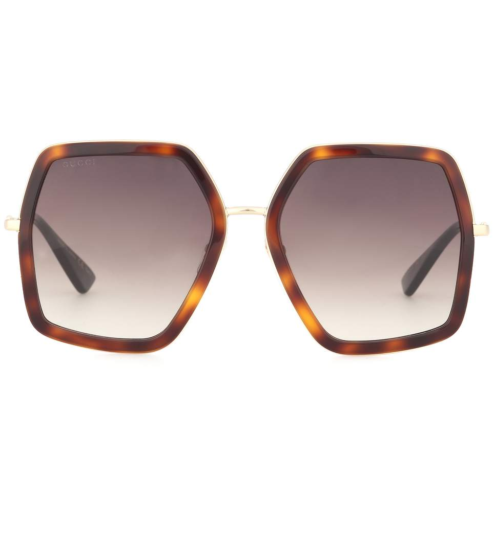 4aca4555bac Gucci Oversize Square-Frame Metal Sunglasses In Tortoiseshell Acetate