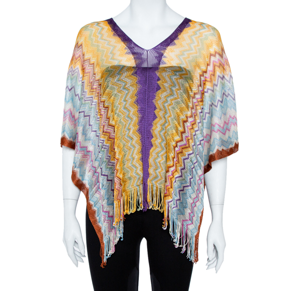 Pre-owned Missoni Multicolor Chevron Knit Fringed Poncho ( One Size )