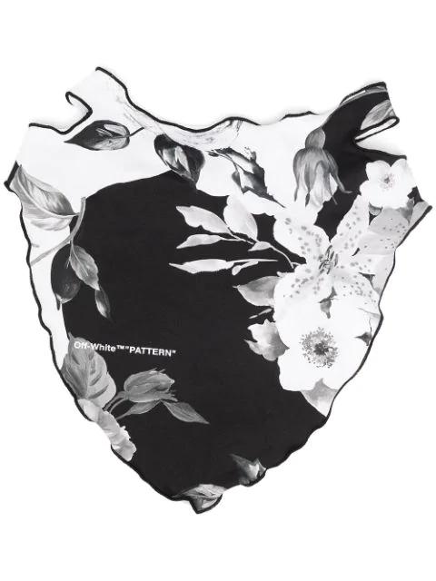 Off-white Floral Print Bandana Mask In Black