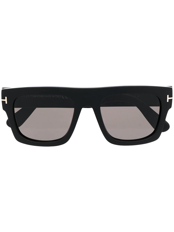 Tom Ford Logo Plaque Sunglasses In 黑色
