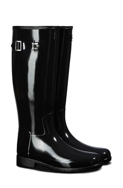 Hunter Original Refined Gloss Tall Waterproof Rain Boot In Black