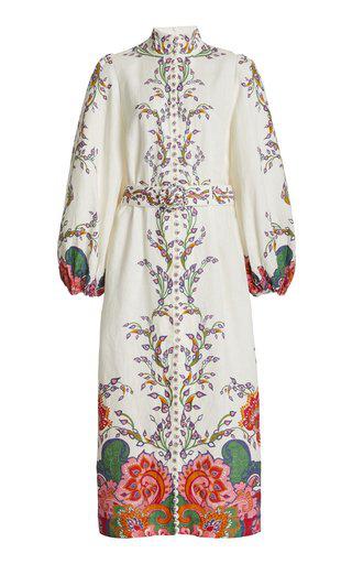 Zimmermann Lovestruck Floral Button-up Long Sleeve Linen Midi Dress In White