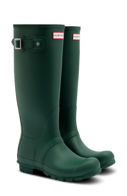 Hunter Original Tall Waterproof Rain Boot In Green Jasper