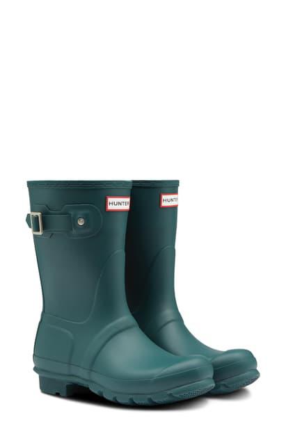 Hunter Original Short Waterproof Rain Boot In Green Jasper