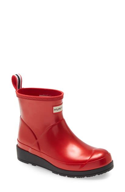 Hunter Original Play Waterproof Short Boot In  Red