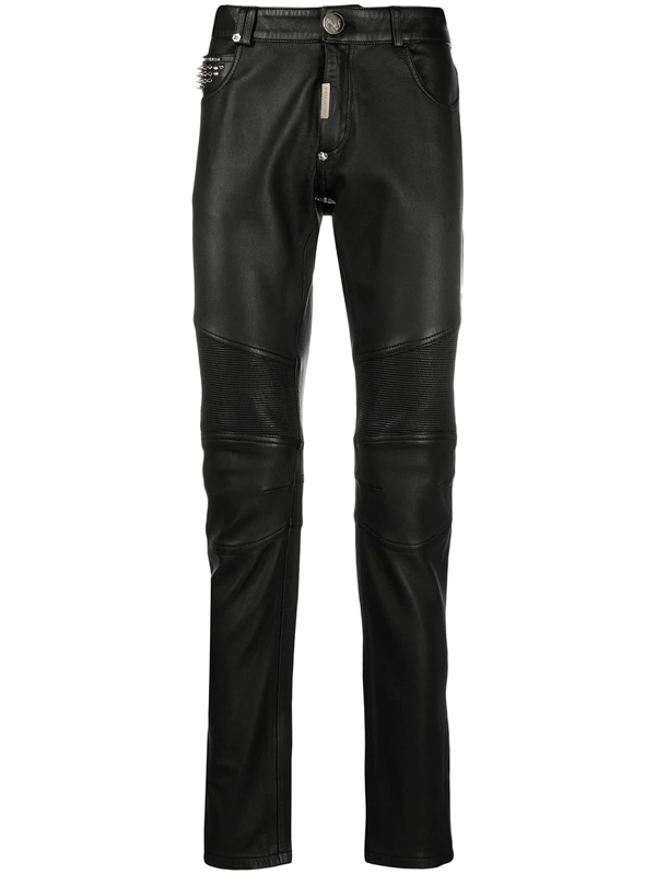 Philipp Plein Leather Slim-fit Trousers In 02 Black