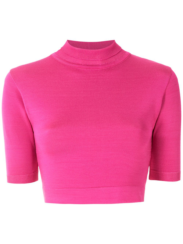 Eva Stand-up Collar Top In Pink