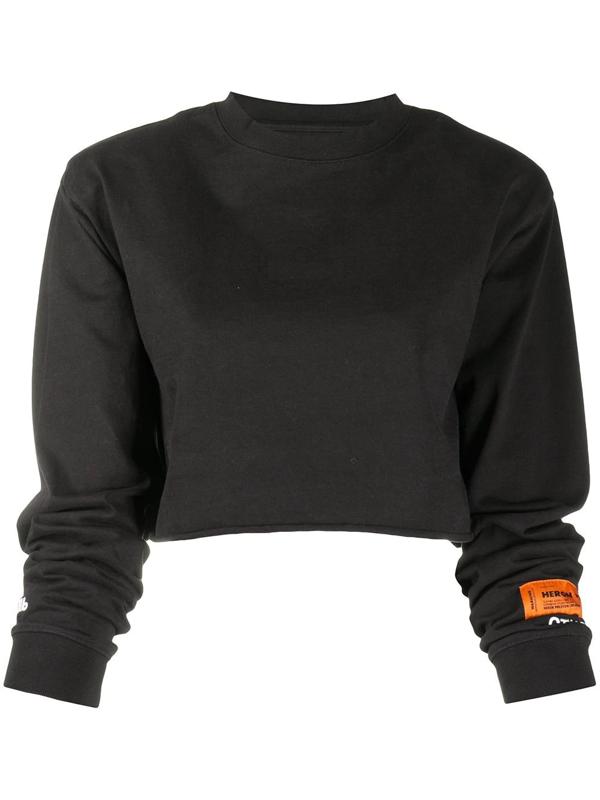 Heron Preston Cropped Long-sleeve T-shirt In Black