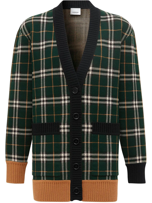 Burberry Glainsnock Check Jacquard Merino Wool Blend Cardigan In Green