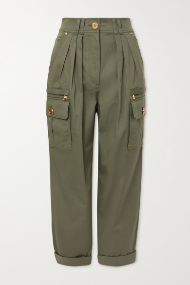 Balmain Pleated Cotton-blend Twill Cargo Pants In Army Green