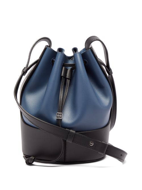 Loewe Balloon Small Leather Shoulder Bag In Navy