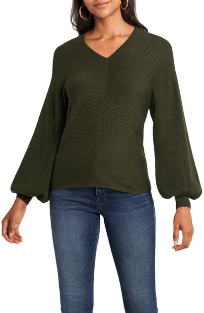 1.state Ribbed Balloon Sleeve Cotton Blend Sweater In Olive Tree