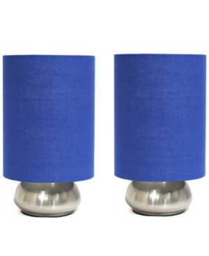All The Rages Simple Designs Gemini 2 Pack Mini Touch Table Lamp Set With Fabric Shades In Blue