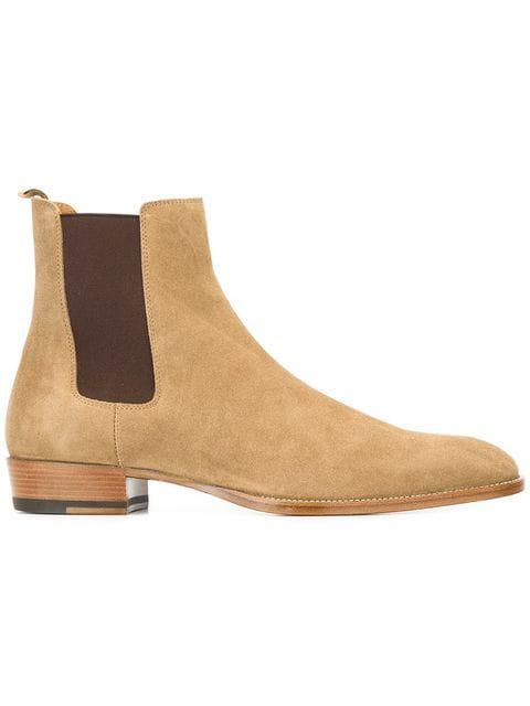 089df0debc5 Saint Laurent Suede Hedi Chelsea Boots - Beige, Tan Size 10 M In Neutrals