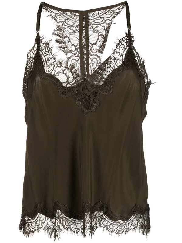 Gold Hawk Floral Lace Trim Sleeveless Blouse In Green