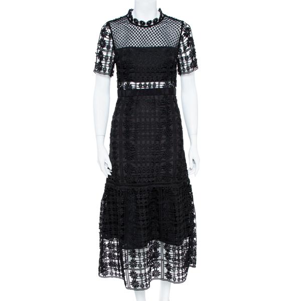 Pre-owned Self-portrait Black Floral Lattice Lace Midi Dress M
