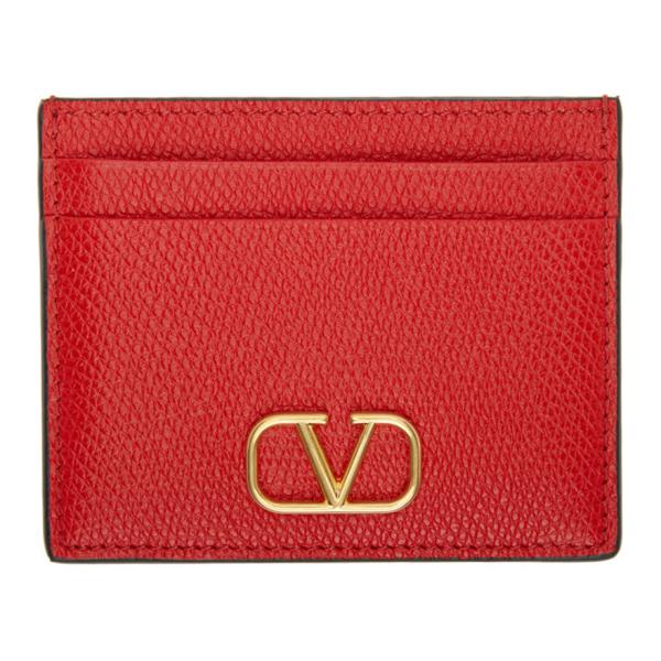 Valentino Garavani Vlogo Signature Grainy Calfskin Cardholder In Ju5 Pure Red