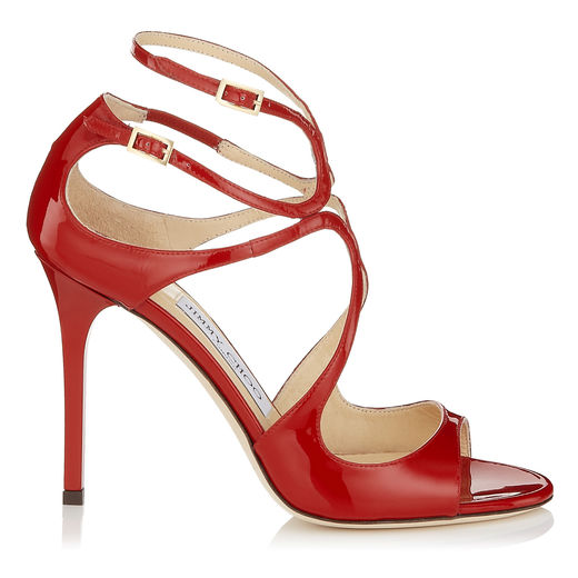 Jimmy Choo Lang Red Patent Leather Strappy Sandals