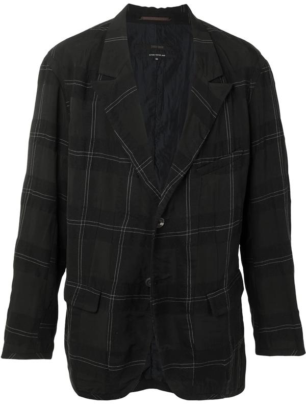 Ziggy Chen Check-pattern Single-breasted Blazer In Black