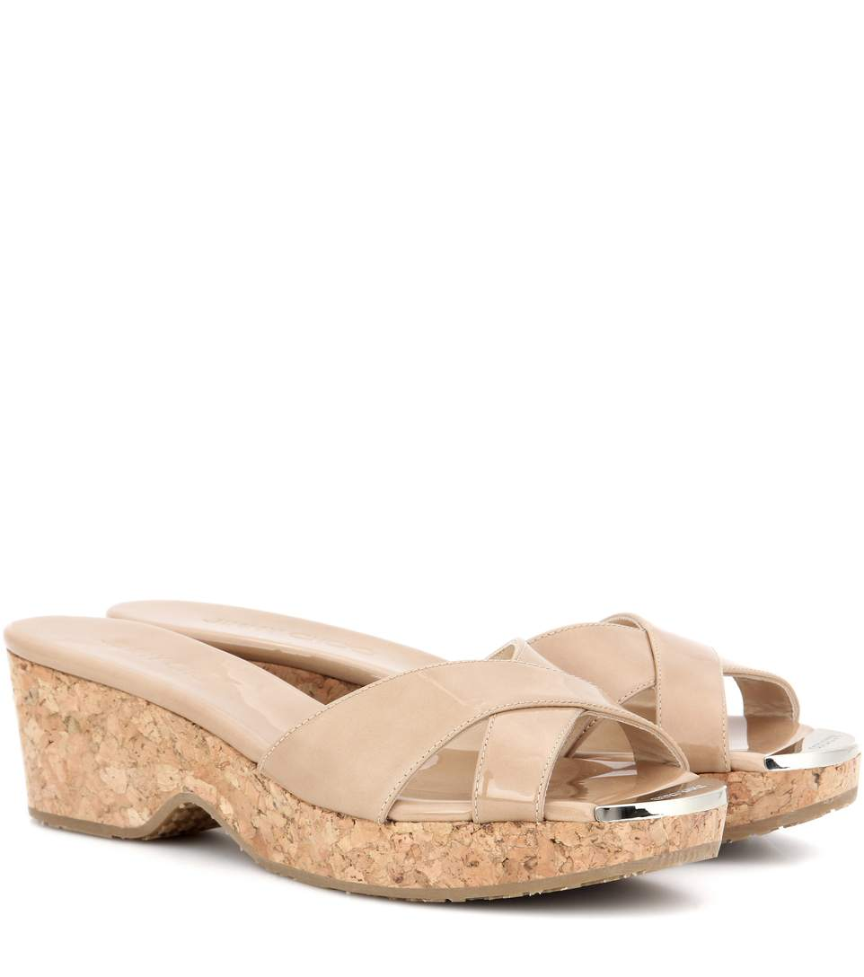 Jimmy Choo Panna Nude Patent Leather Wedge Sandals In Eude