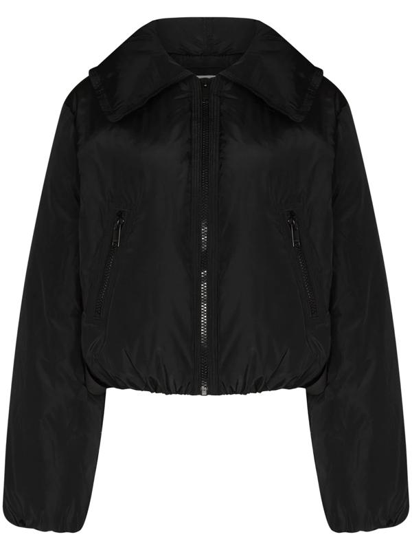Ganni Women's Cropped Shell Down Jacket In Black